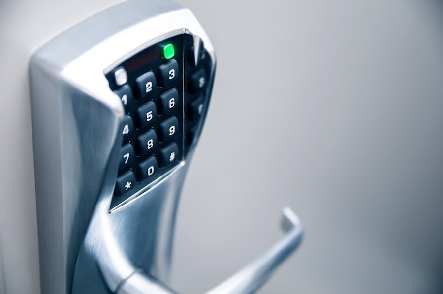 Door handle with modern electronic combination lock. High Security Locks for Schools