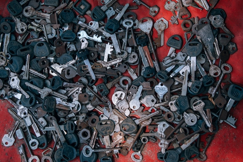 Different kinds of keys are placed on the red carpet.